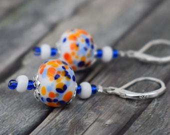 Earrings / 925'er Silver / Glass Bead earrings 'Maritim white blue orange'