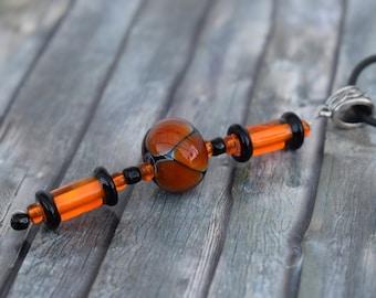 Chain / Glass bead chain / Necklace / Trailer chain 'Black-Orange'