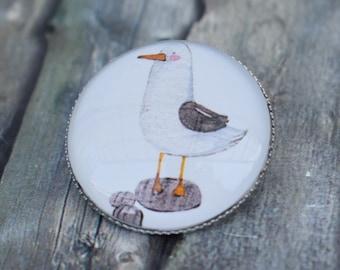 Brooch / Pin / Pin / Button 'Seagull'