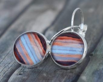 Earrings / Cabochon Earrings / Earrings 'Watercolor Red Tones Sunset'