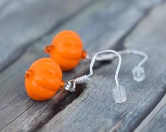 Earrings / 925'er Silver / Glass Bead Earrings / Pumpkin Earrings 'Pumpkins'