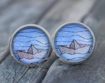 Earrings / Earrings / Earrings 'Boat / Paper Boat / Origami Boat'