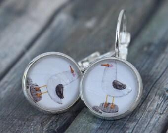 Earrings / Cabochon Earrings / Earrings 'Seagull'