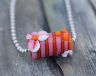 Chain / Glass bead chain / Necklace 'Pink Flowers'