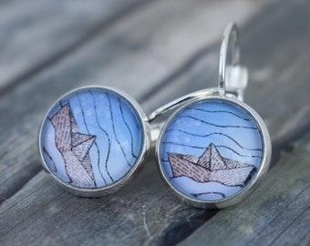 Earrings / Cabochon Earrings / Earrings 'Boat / Paper Boat / Origami Boat'