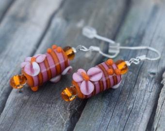 Earrings / 925'er Silver / Glass Bead earrings 'Pink Flowers'