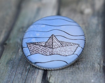 Brooch / Pin / Pin / Button 'Boot / Paper Boat / Origami Boat'
