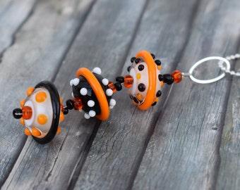 Chain / glass bead chain / necklace / trailer chain 'glass beads orange/black/white'