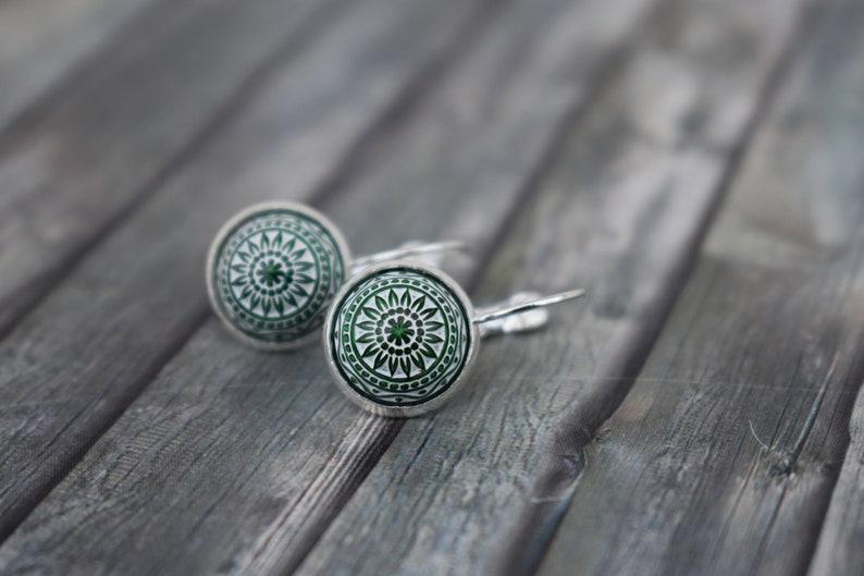 Earrings / woman earrings / cabochon earrings / mosaic image 0