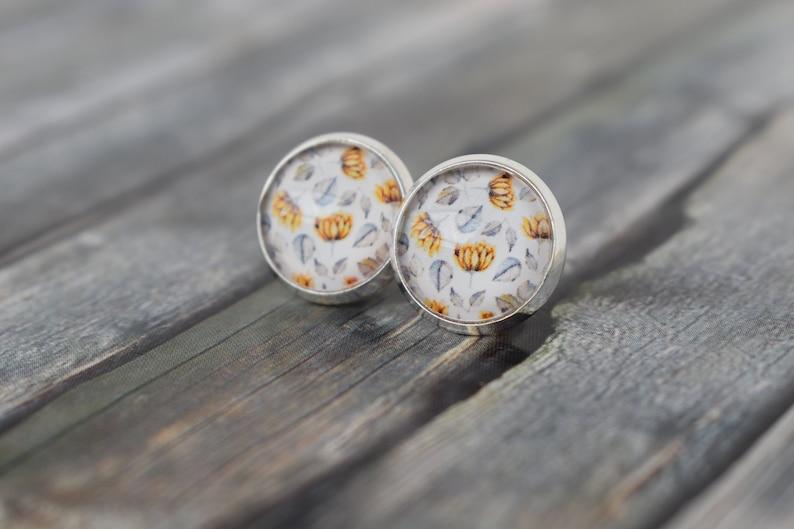 Earrings/cabochonear-earrings/cabochon jewellery/flower prince image 0