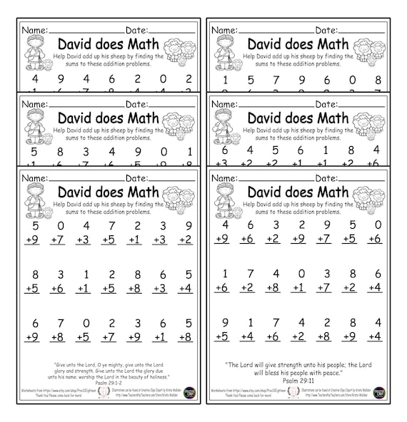 David Does Math! First Grade Math Worksheets. 1st Grade. PDF. Printable.  Downloadable. Home School. Christian School. Bible Bundle Religious