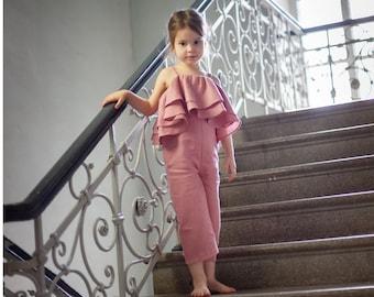 Girls jumpsuit toddler jumpsuit flower girl pink romper organic floral wide leg romper ballerina butterfly