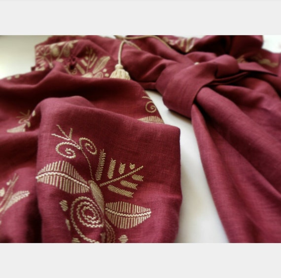 dress Dress Embroidery Boho 100 Embroidered Ethnic linen Boho with color Marsala Dress Ukrainian w5xFqg06