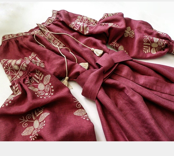 linen Boho Boho Marsala Embroidery 100 Ethnic with Embroidered Dress dress Ukrainian Dress color Bqw117d