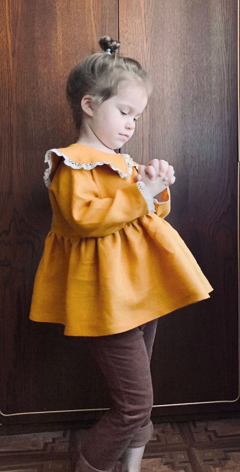 Flower Girl Dress Simple Tunic With Lace Christmas Dress for Baby Girl Linen Tunic With Long Sleeve Girls Linen Shirt