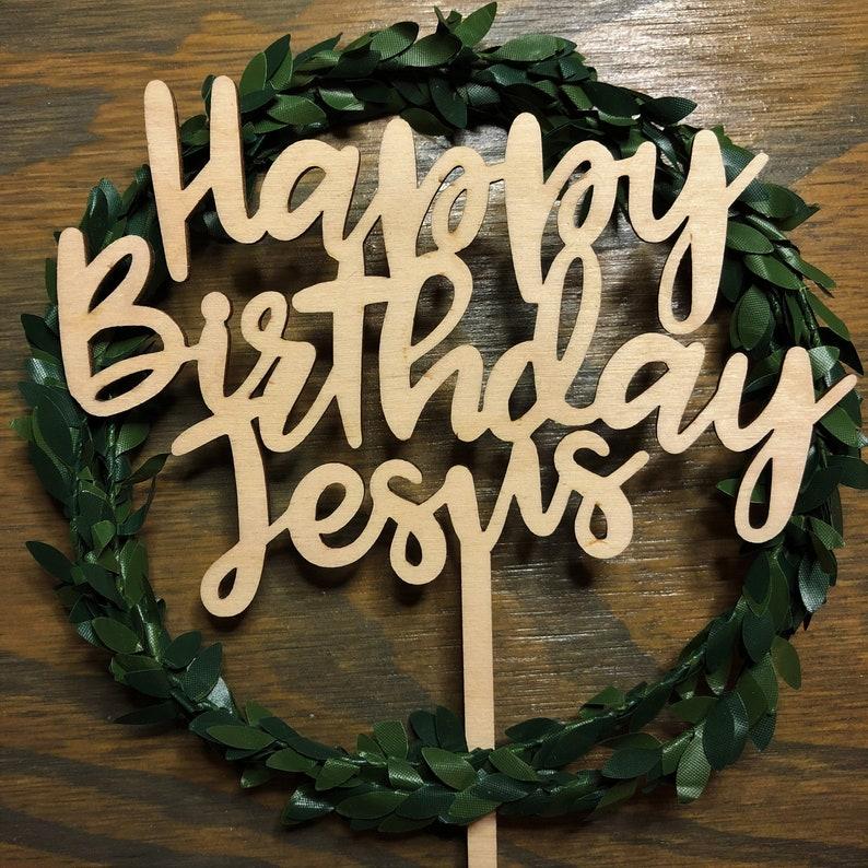 Happy Birthday Jesus Christmas Cake Topper Christmas Cake Etsy