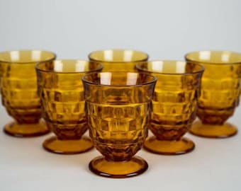 Colony Whitehall Gold Amber Footed Tumbler Glasses, Set of (6), Vintage Pressed