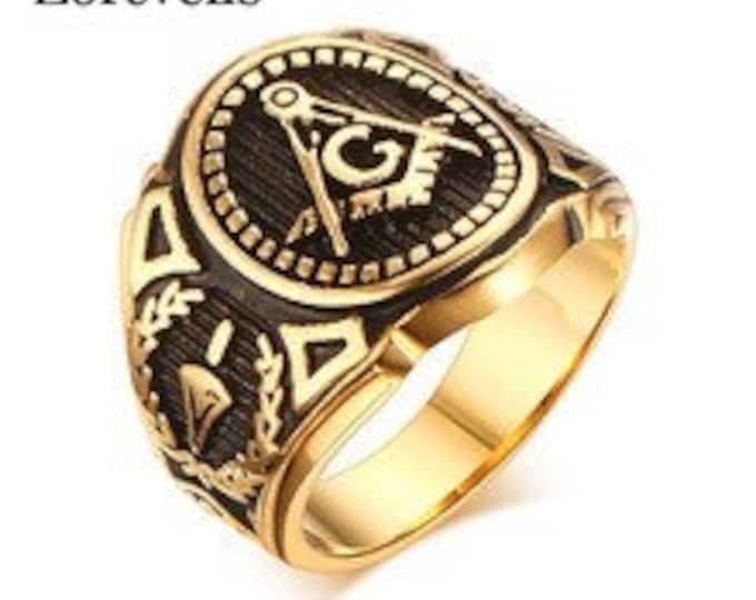 Masonic Symbol Stainless Steel Vintage Ring