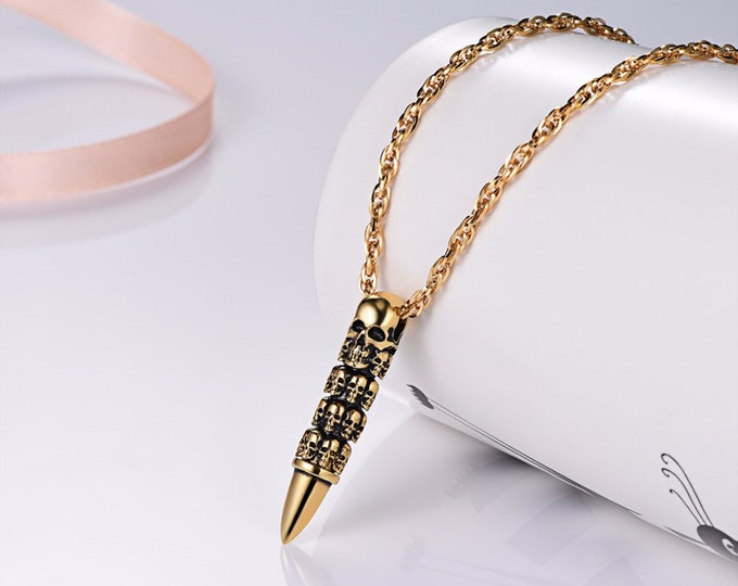 Skull Bullet Necklace Pendant