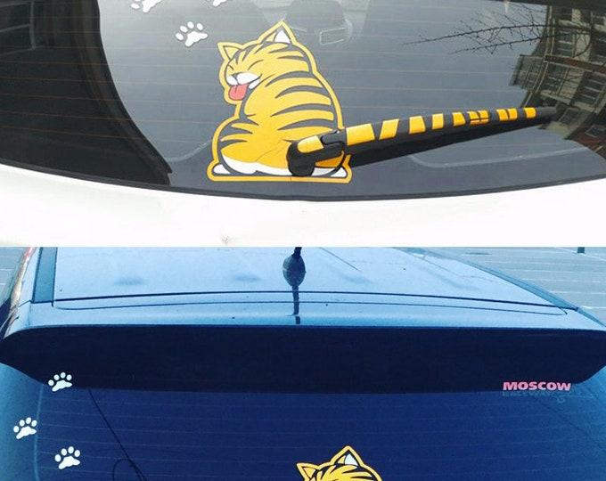 Cat Window Wiper Stickers