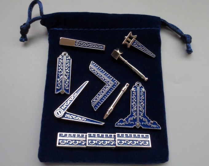 9 Different Blue Masonic Working Tools