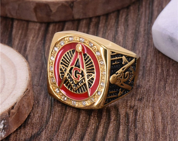 Masonic Red Gold Color Ring