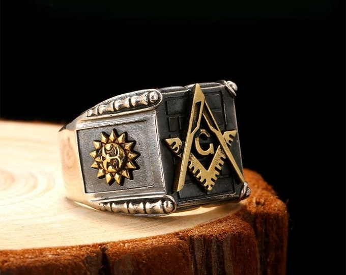 Vintage 925 Sterling Silver Masonic Rings