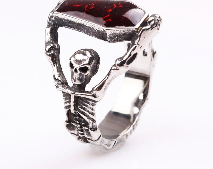 Gothic Skeleton Coffin Ring With Red Crystal