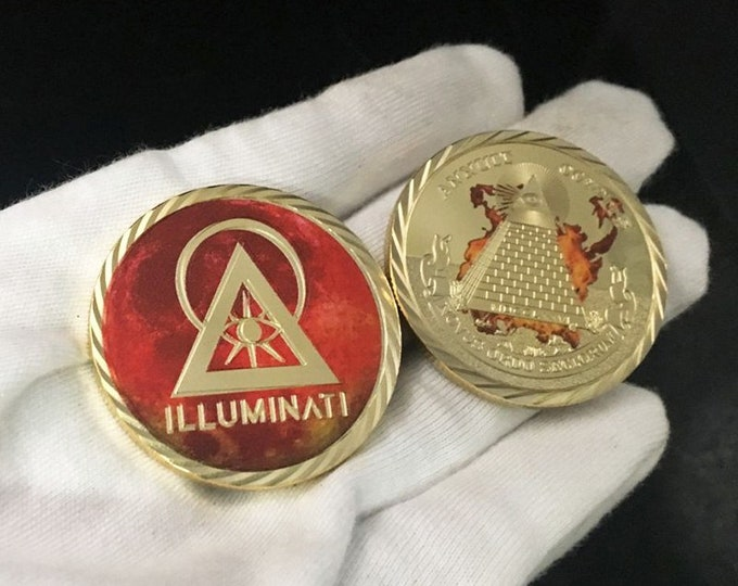 Specially designed Illuminati coin with two different motifs on the coin itself