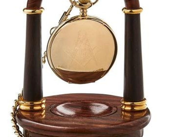 Freemasons Luxurious Real Pure Gold Plated Gift Set Full Hunter Masonic Pocket Watch and Luxury Wooden Pocket Watch Display Stand Holder