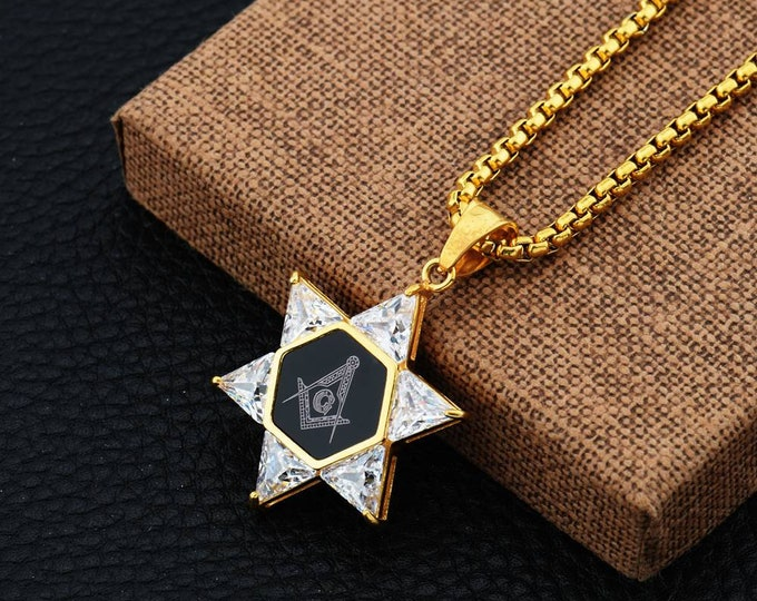 Freemasons And Six Awn Stars Pendant Necklace