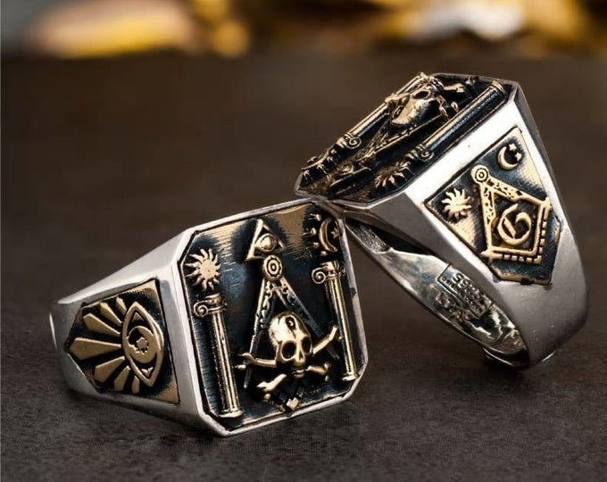 Ring For Men Omniscient eye and freemason Totem Jewelry
