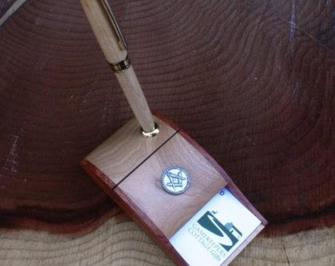 Masonic Wooden Ball Point Pen and Business Card Holder.