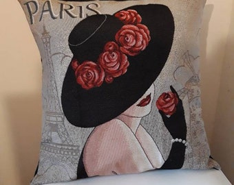 Jacquard tapestry cushion cover with pattern placed theme Paris 45 x 45 cm. Indoor deco - decorative cushion - birthday gift