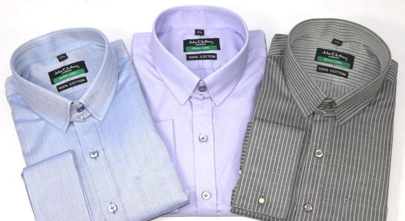 Mens James Bond collar Bankers shirt Black Grey Texture Loop collar Gents Tab