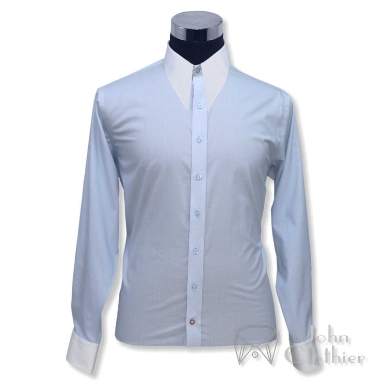 1940s Style Mens Shirts, Sweaters, Vests Spearpoint collar 1930s 40s Sky Blue pin stripes Cotton Gents $67.69 AT vintagedancer.com