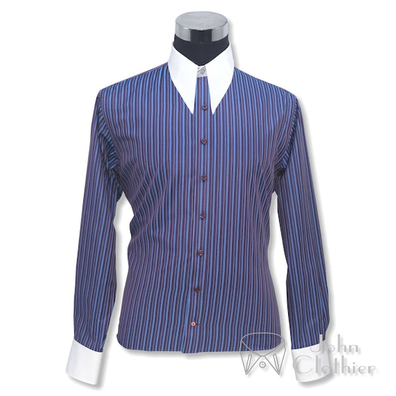 1940s Style Mens Shirts, Sweaters, Vests Mens Spear point collar 1930s 40s Vintage shirt Blue Maroon stripes Cotton Gent $57.88 AT vintagedancer.com