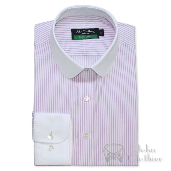 Vintage Shirts – Mens – Retro Shirts Club collar Bankers style Lilac White stripes Penny Suit shirt $58.86 AT vintagedancer.com