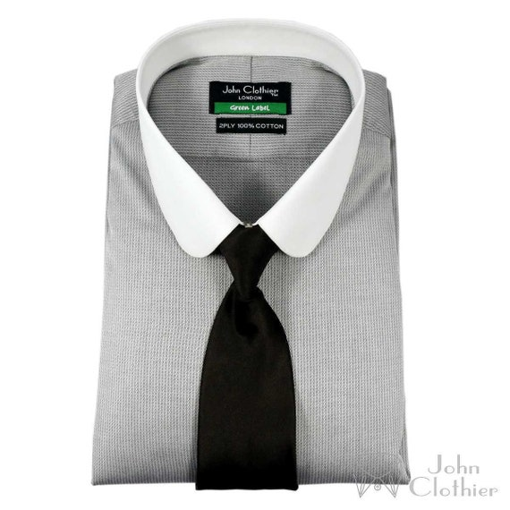 1920s Mens Shirts and Collars History  Club collar Formal Mens Peaky Blinders Penny Collar Cotton $58.65 AT vintagedancer.com
