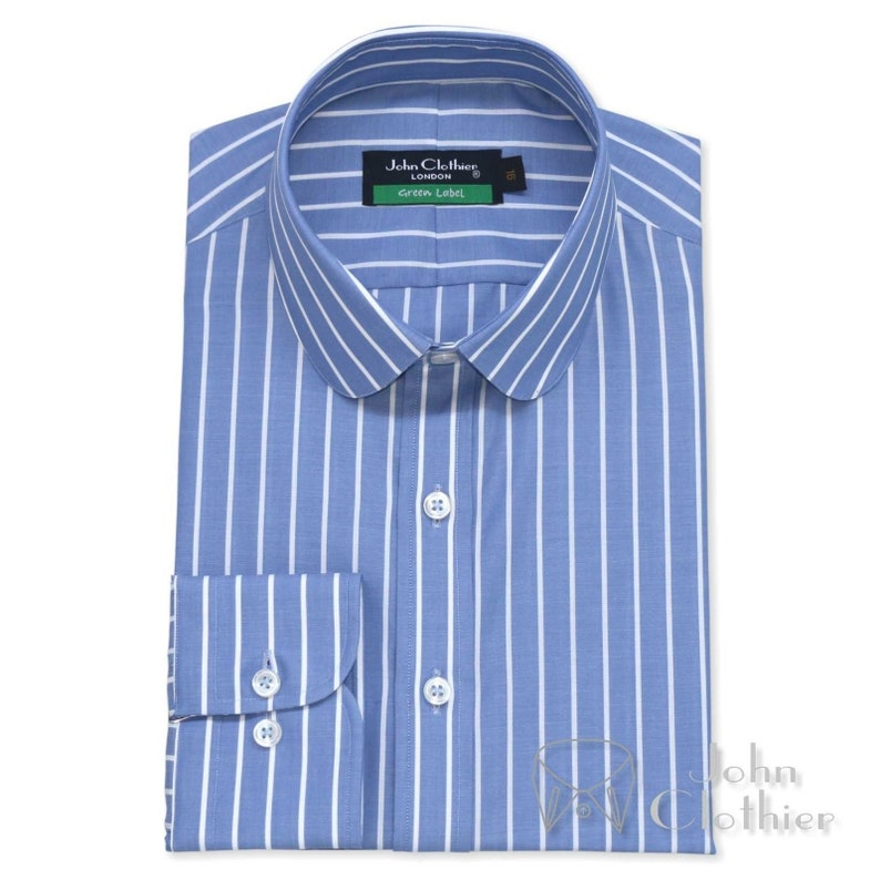 Penny collar Mens Bankers Cotton shirts Blue White stripes Club Round Cuff Gents