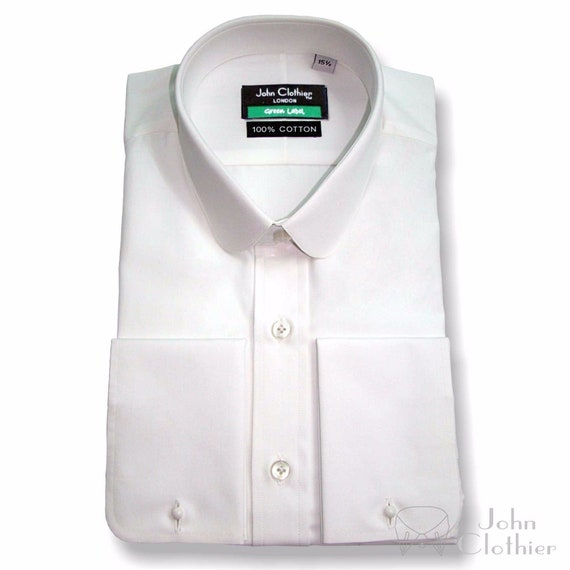 Vintage Shirts – Mens – Retro Shirts Penny collar White Soft Cotton shirt Savile Row Round High End Work Wear Gents $57.88 AT vintagedancer.com