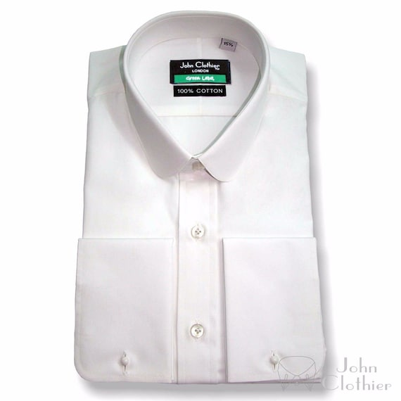 1920s Style Mens Shirts | Peaky Blinders Shirts and Collars Penny collar White Soft Cotton shirt Savile Row Round High End Work Wear Gents $57.88 AT vintagedancer.com