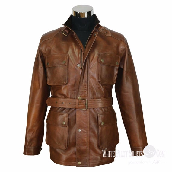50s Men's Jackets| Greaser Jackets, Leather, Bomber, Gaberdine Men Vintage Antique Brown Motorbike Panther Belt Benjamin Pit $211.16 AT vintagedancer.com