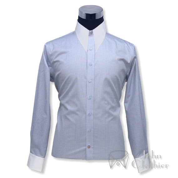 Vintage Shirts – Mens – Retro Shirts Spear point collar Vintage shirt 1930s 40s Blue Small checks Cotton Gents $57.88 AT vintagedancer.com