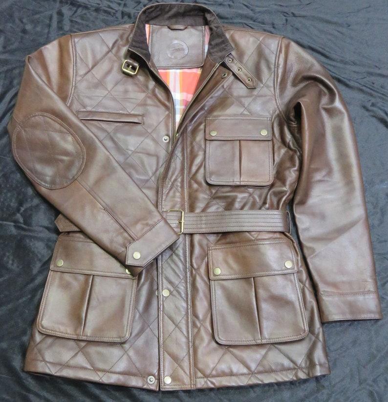 Lamb Leather Jacket Quilted Panther Vintage Brown Motorbike Benjamin Field Gents