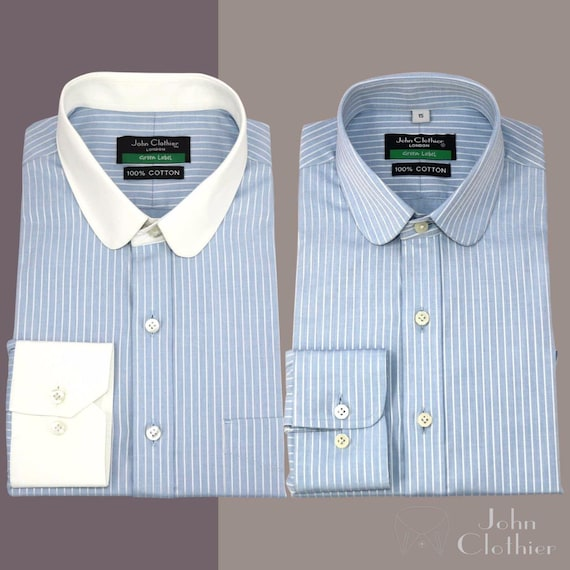Edwardian Men's Fashion & Clothing Penny collar Tab collar Soft Cotton Shirts for Men Sky Blue stripes French Cuffs �44.60 AT vintagedancer.com