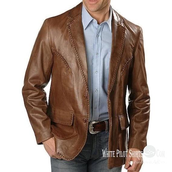 70s Jackets & Hippie Vests, Ponchos Gent Lace leather Suit Blazer Men patch pocket 2 button Lapel 1 back slit jacket $211.16 AT vintagedancer.com