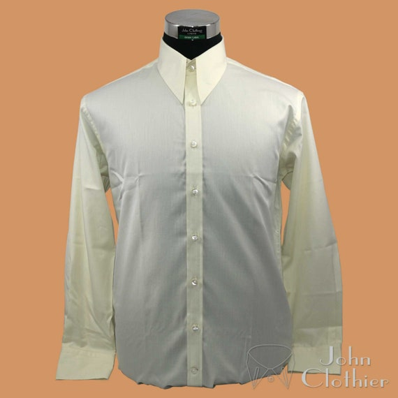 Vintage Shirts – Mens – Retro Shirts Spear point collar Cream plain shirt 1930 40 Loose fit 100% Cotton $57.88 AT vintagedancer.com