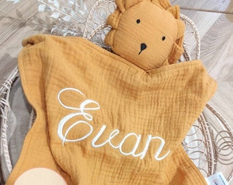 Personalised lion lange with embroidered name terracotta