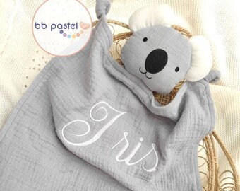 Customised koala doudou with cream or grey embroidered first name